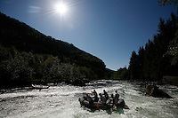 Rafting in the river Strandaelva.The Extremesport Week, Ekstremsportveko, is the worlds largest gathering of adrenalin junkies. In the small town of Voss enthusiasts in a varitety of extreme sports come togheter every summer to compete and play. Norway..©Fredrik Naumann/Felix Features.
