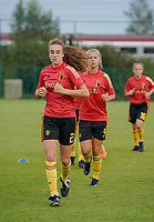 20200820 - TUBIZE , Belgium : Belgium's Maude Lecoq pictured during the warm up before a friendly match between Belgian national women's youth soccer team called the Red Flames U17 and Union Saint-Ghislain Tetre , on the 20th of August 2020 in Tubize.  PHOTO: Sportpix.be | SEVIL OKTEM