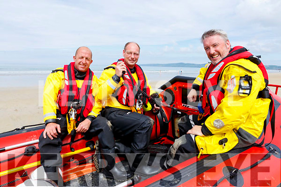 Sitting in the Banna Sea Rescue boat in Banna Beach on Sunday.<br /> L-r , Gordon Baxter, Thomas Ward and Brian Crean,
