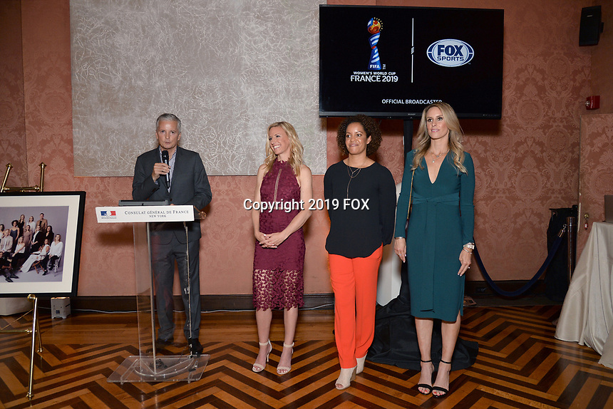 New York City, NY - MAY 23: (L-R) David Neal, Executive Producer, FIFA World Cup on Fox Sports, Aly Wagner, Lead WWC Match Analyst, Danielle Slaton, Match Analyst, and Leslie Osborne, Studio Analyst, attend the Fox Sports FIFA Women's World Cup Send-off at the Consulate General of France in New York City. (Photo by Anthony Behar/Fox Sports/PictureGroup)