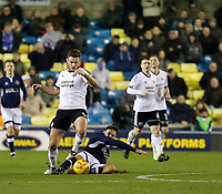 Jack O'Connell of Sheffield United loses out to Lee Gregory of Millwall during the Sky Bet Championship match between Millwall and Sheff United at The Den, London, England on 2 December 2017. Photo by Carlton Myrie / PRiME Media Images.