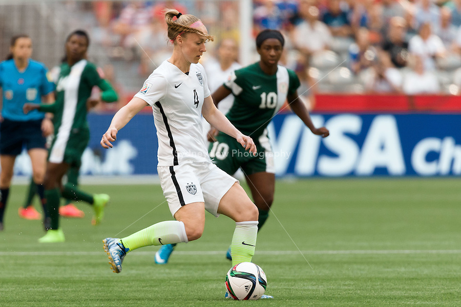 June 16, 2015: Becky SAUERBRUNN of the USA controls the ball during a Group D match at the FIFA Women's World Cup Canada 2015 between Nigeria and the USA at BC Place Stadium on 16 June 2015 in Vancouver, Canada. USA won 1-0. Sydney Low/Asteriskimages.com