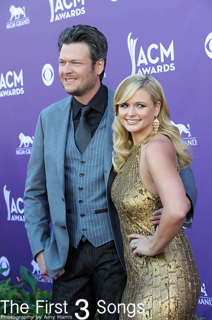 Blake Shelton and Miranda Lambert attend the 47th Annual Academy of Country Music Awards in Las Vegas, Nevada on April 1, 2012.