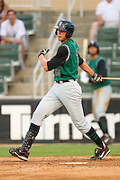 Luke Anders #35 of the Augusta GreenJackets follows through on his swing against the Kannapolis Intimidators at Fieldcrest Cannon Stadium June 24, 2010, in Kannapolis, North Carolina.  Photo by Brian Westerholt / Four Seam Images