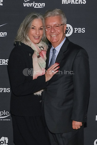 """NEW YORK, NY - OCTOBER 23 : Essie Weingarten, (L), and Max Sortino arrive for the New York premiere of """"Makers : Women In Business"""" held at the New York Stock Exchange on October 23, 2014 in New York City.  (Photo by Brent N. Clarke / MediaPunch)"""