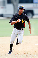 July 13, 2009:  Left Fielder Edwin Roman of the GCL Pirates during a game at Tiger Town in Lakeland, FL.  The GCL Pirates are the Gulf Coast Rookie League affiliate of the Pittsburgh Pirates.  Photo By Mike Janes/Four Seam Images
