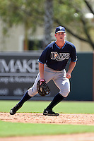 Tampa Bay Rays first baseman Casey Gillaspie (24) during an Instructional League game against the Baltimore Orioles on September 15, 2014 at Ed Smith Stadium in Sarasota, Florida.  (Mike Janes/Four Seam Images)