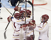 Matthew Gaudreau (BC - 21), Peter McMullen (BC - 20), Adam Gilmour (BC - 14) - The Boston College Eagles defeated the visiting St. Francis Xavier University X-Men 8-2 in an exhibition game on Sunday, October 6, 2013, at Kelley Rink in Conte Forum in Chestnut Hill, Massachusetts.