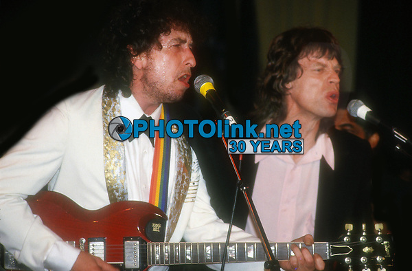 Bob Dylan and Mick Jagger 1988<br /> ROck 'n Roll Hall if Fame<br /> Photo By John Barrett/PHOTOlink