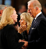 Boston, MA - August 29, 2009 -- U.S. Vice President Joe Biden (R) and his wife Jill (C) talk with U.S. Senator Edward Kennedy's ex-wife Joan Kennedy (L). during funeral services for U.S. Senator Edward Kennedy at the Basilica of Our Lady of  Perpetual Help in Boston, Massachusetts August 29, 2009.  Senator Kennedy died late Tuesday after a battle with cancer.   .Credit: Brian Snyder- Pool via CNP