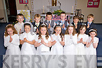 The boys & girls from Aghatubrid N.S. who made their First Holy Communion on Saturday pictured front l-r; Caitlin Walsh, Davina O'Neill,n Vikki McCarthy, Mairead Murphy, Nessa Walsh, Orla Sugrue, Kate Sugrue, back l-r; Cathal O'Shea, Brendan Kelly, Robbie Hasell, Michea?l Keating, Sammy Behrens & Jason Behrens.