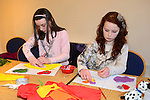 Rachel and Olivia Smith of Weir Hope at the Valentine's Day Heart Art Workshop at the Droichead Arts Centre. Photo: Andy Spearman.