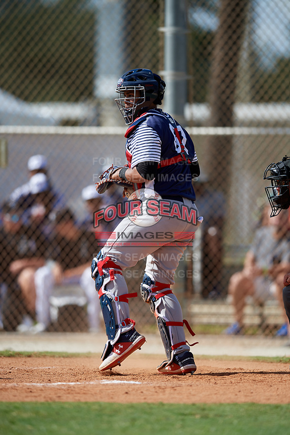 Darius Perry during the WWBA World Championship at the Roger Dean Complex on October 18, 2018 in Jupiter, Florida.  Darius Perry is a catcher from La Miranda, California who attends La Miranda High School and is committed to UCLA.  (Mike Janes/Four Seam Images)