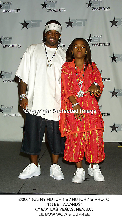 "©2001 KATHY HUTCHINS / HUTCHINS PHOTO.""1st BET AWARDS"".6/19/01 LAS VEGAS, NEVADA.LIL BOW WOW & DUPREE"