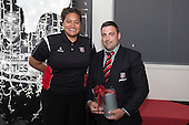 Steelers Defence Player of the Year Sean Bagshaw with Moana Leilua. . Counties Manukau Rugby Unions Senior Prize giving held at ECOLight Stadium Pukekohe on Wednesday November 2nd, 2016.<br /> Photo by Richard Spranger.