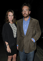 "KEELEY HAWES & MATTHEW MacFADYEN.The ""Ghost Stories"" VIP evening, Duke of York's Theatre, London, England..July 14th, 2010.half 3/4 length black skirt jacket white gold brown pattern top hand in pocket jacket beard facial hair jeans denim married husband wife cords corduroy .CAP/CAN.©Can Nguyen/Capital Pictures."