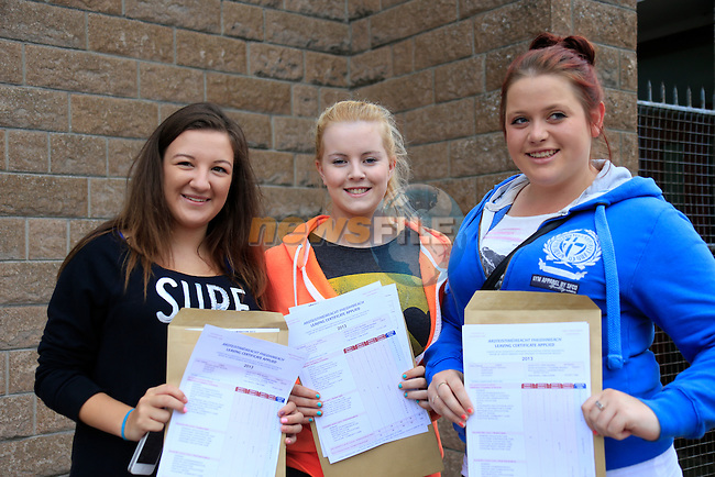 Charolette Sullivan, Nicole McHugh and Sarah Hayes<br /> Leaving Cert Results<br /> Picture:  Fran Caffrey / www.newsfile.ie