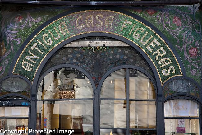 Facade of Escriba Bakery and Cafe on La Rambla Street in Barcelona, Catalonia, Spain
