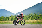 Fabio Aru (ITA) UAE Team Emirates in action during Stage 16 of the 2018 Giro d'Italia, a 34.2km individual time-trial from Trento to Rovereto the stage is a pivotal moment in the fight for the Corsa Rosa's GC, Italy. 21st May 2018.<br /> Picture: LaPresse/Fabio Ferrari | Cyclefile<br /> <br /> <br /> All photos usage must carry mandatory copyright credit (&copy; Cyclefile | LaPresse/Fabio Ferrari)