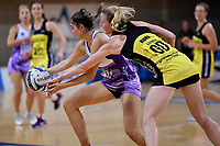 Stars' Kate Burley and Pulse' Katrina Rore in action during the ANZ Premiership - Pulse v Stars at Te Rauparaha Arena, Porirua, New Zealand on Wednesday 3 April 2019. <br /> Photo by Masanori Udagawa. <br /> www.photowellington.photoshelter.com