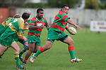 M. Tatafu breaks through the Drury defence. Counties Manukau Premier Club Rugby round 5 game between Waiuku and Drury played at Waiuku on the 12th of May 2007. Waiuku led 33 - 0 at halftime and went on to win 57 - 5.