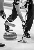 Glasgow. SCOTLAND.   &quot;Sweeping&quot;,  &quot;Round Robin&quot; Game. Le Gruy&egrave;re European Curling Championships. 2016 Venue, Braehead  Scotland<br /> Tuesday  22/11/2016<br /> <br /> [Mandatory Credit; Peter Spurrier/Intersport-images]