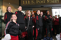 31 March 2008: Kayla Pedersen, Jayne Appel, Jeanette Pohlen, JJ Hones, Hannah Donaghe and Candice Wiggins listen to the band as they send off the team before Stanford's 98-87 win over the University of Maryland in the elite eight game of the NCAA Division 1 Women's Basketball Championship in Spokane, WA.