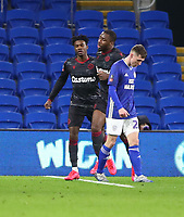 4th February 2020; Cardiff City Stadium, Cardiff, Glamorgan, Wales; English FA Cup Football, Cardiff City versus Reading; Omar Richards and Yakou Meite of Reading celebrate after pulling a goal back making it 2-1 in the 69th minute