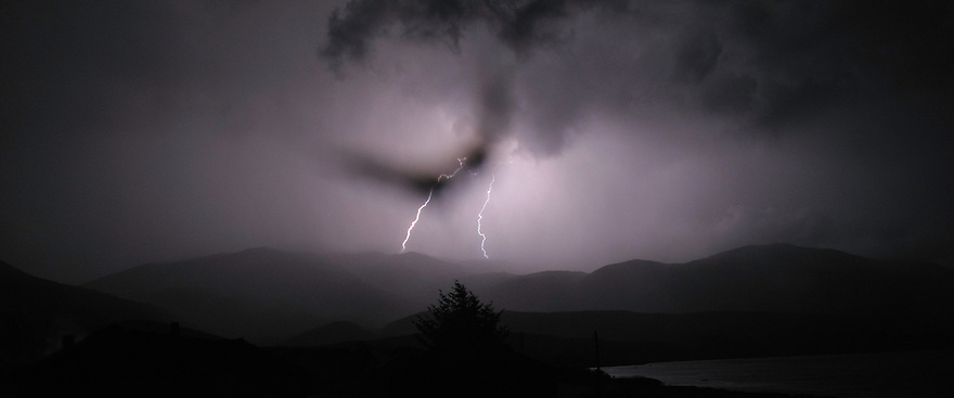 Thunder storm and Lightening bolt over Galicica mountain range, Galicica National Park, Macedonia. View North towards Mount Tomoros (1678m). <br /> Stenje region, Lake Macro Prespa (850m) <br /> Galicica National Park, Macedonia, June 2009<br /> Mission: Macedonia, Lake Macro Prespa /  Lake Ohrid, Transnational Park<br /> David Maitland / Wild Wonders of Europe