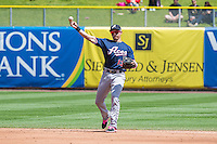 Cody Ransom (13) of the Reno Aces on defense against the Salt Lake Bees in Pacific Coast League action at Smith's Ballpark on May 10, 2015 in Salt Lake City, Utah. Salt Lake defeated Reno 9-2 in Game One of the double-header.  (Stephen Smith/Four Seam Images)