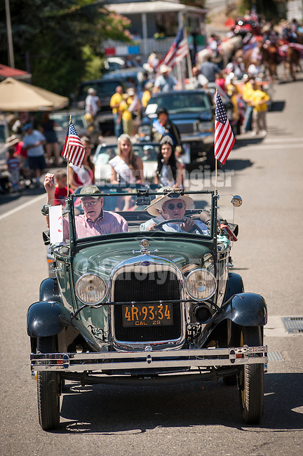 Mary Jane Garamendi and Presley ?Pep? Peek, both 91 years old and life-long residents of Mokelumne Hill,  the grand marshals of the Mokelumne Hill Fourth of July Parade, during the Independence Day celebration Main Street.