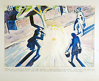 BNPS.co.uk (01202 558833)Pic: DominicWinter/BNPS<br /> <br /> Nov 1940 - 'Putting out incendiary bombs with sand'.<br /> <br /> Unseen harrowing drawings which vividly capture the horrors of the Blitz during World War Two have come to light 78 years later.<br /> <br /> Artist Ivor Beddoes began the war as an actor in the West End but quit to become a stretcher bearer as the German bombs rained down on London.<br /> <br /> He made sketches on the spot and then added watercolours later, documenting in graphic detail the devastation caused.<br /> <br /> Beddoes' drawings show bodies strewn on the blood soaked ground as the Luftwaffe did their worst. Others reveal frantic searches for survivors in the rubble of decimated buildings.<br /> <br /> The drawings have emerged for sale with auction house Dominic Winter, of Cirencester, Gloucs. They are expected to fetch £5,000.