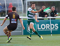 Tommy Bell of Ealing Trailfinders during the RFU Championship Cup match between Ealing Trailfinders and Ampthill RUFC at Castle Bar , West Ealing , England  on 28 September 2019. Photo by Alan  Stanford / PRiME Media Images