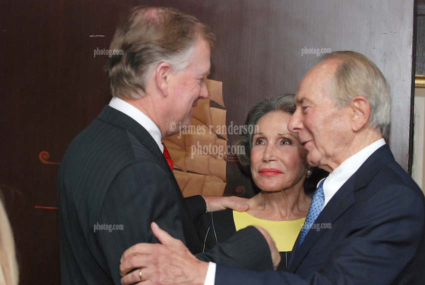"""Dan Quayle, Mrs Greenberg and Maurice R. """"Hank"""" Greenberg. Reception at 21 Club NYC 18 Sept 2007 Honoring the endowment of the David Boies Professorship of Law at Yale Law School"""