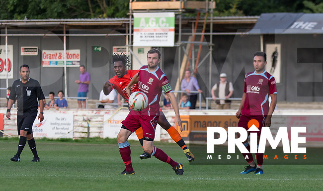 Trialist of Wycombe hits a shot at goal during the 2018/19 Pre Season Friendly match between Chesham United and Wycombe Wanderers at the Meadow , Chesham, England on 24 July 2018. Photo by Andy Rowland.