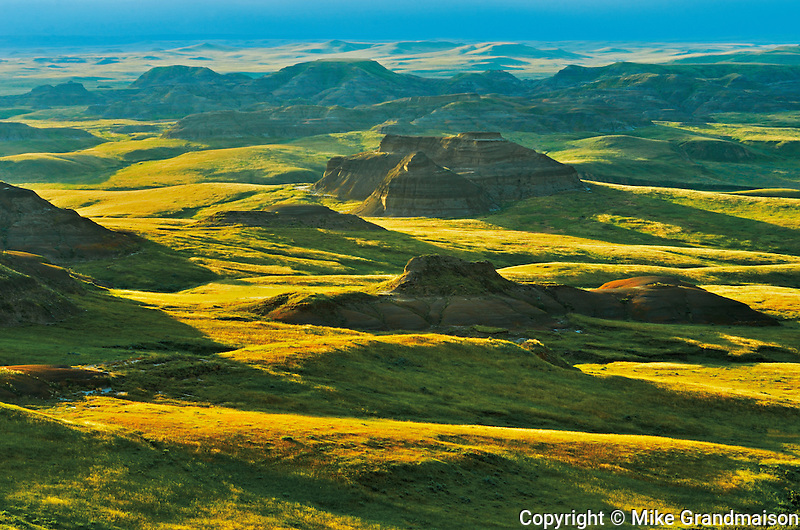 Rolling hills of the Killdeer Badlands at sunset. East Block.<br /> Grasslands National Park<br /> Saskatchewan<br /> Canada