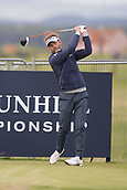 3rd October 2017, The Old Course, St Andrews, Scotland; Alfred Dunhill Links Championship, practice round; Raphaël Jacquelin of France tees off on the seventeeth hole on the Old Course, St Andrews during a practice round before the Alfred Dunhill Links Championship