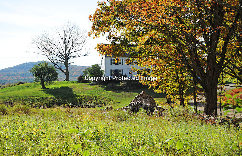 Hilltop Farmstead during Fall Season in Rural New Hampshire USA