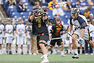 Annapolis, MD - February 11, 2017: Maryland Terrapins Tim Rotanz (7) attempts a shot during game between Maryland vs Navy at  Navy-Marine Corps Memorial Stadium in Annapolis, MD.   (Photo by Elliott Brown/Media Images International)