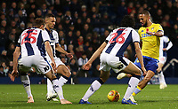 Leeds United's Kemar Roofe tries to break through the West Bromwich Albion defence (Ahmed Hegazy & Craig Dawson)<br /> <br /> Photographer David Shipman/CameraSport<br /> <br /> The EFL Sky Bet Championship - West Bromwich Albion v Leeds United - Saturday 10th November 2018 - The Hawthorns - West Bromwich<br /> <br /> World Copyright © 2018 CameraSport. All rights reserved. 43 Linden Ave. Countesthorpe. Leicester. England. LE8 5PG - Tel: +44 (0) 116 277 4147 - admin@camerasport.com - www.camerasport.com