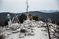 Some pilgrims used to place a cross on top of the Mt. Krizevac to consecrate their passed loved ones to the Virgin Mary.<br /> Medjugorje, Bosnia and Herzegovina. July 2012