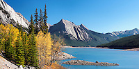 Autumn colors accent Medicine Lake in Jasper National Park, Canada