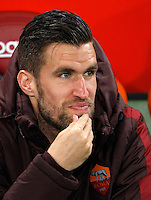 Calcio, Serie A:  Roma vs Palermo. Roma, stadio Olimpico, 21 febbraio 2016. <br /> Roma's Kevin Strootman sits on the bench for the Italian Serie A football match between Roma and Palermo at Rome's Olympic stadium, 21 February 2016.<br /> UPDATE IMAGES PRESS/Riccardo De Luca