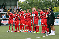 Leyton Orient players observe a tribute to former manager Justin Edinburgh before Harlow Town vs Leyton Orient, Friendly Match Football at The Harlow Arena on 6th July 2019