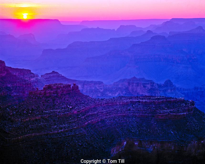 Grand Canyon Sunset  Grand Canyon National Park, Arizona, Yavapai Point, June   Ridges of Grand Canyon Buttes and Mesas
