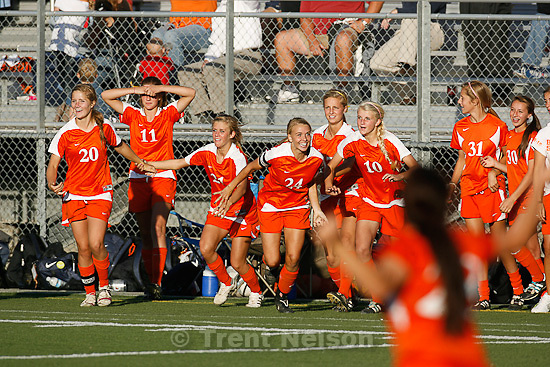 Trent Nelson  |  The Salt Lake Tribune.Brighton players run onto the field after defeating Davis high school 3-0 at the 5A girls' soccer state championships semifinals at Juan Diego High School Tuesday, October 19, 2010. Brighton's Stephanie Verdoia (24)