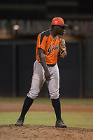 AZL Giants Orange relief pitcher Chris Roberts (85) looks to his catcher for the sign during an Arizona League game against the AZL Athletics at Lew Wolff Training Complex on June 25, 2018 in Mesa, Arizona. AZL Giants Orange defeated the AZL Athletics 7-5. (Zachary Lucy/Four Seam Images)