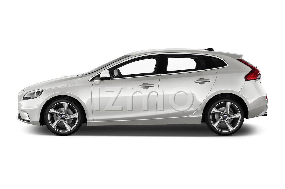 Car Driver side profile view of a 2015 Volvo V40 R-Design 5 Door Hatchback Side View