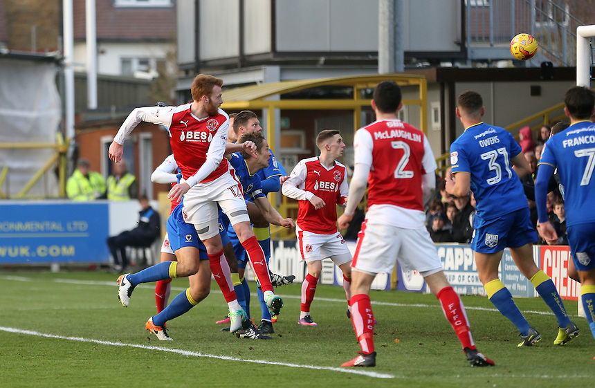 Fleetwood Town's Cian Bolger scores his sides first goal  <br /> <br /> Photographer Rob Newell/CameraSport<br /> <br /> The EFL Sky Bet League One - AFC Wimbledon v Fleetwood Town - Saturday 26th November 2016 - The Cherry Red Records Stadium - London<br /> <br /> World Copyright &copy; 2016 CameraSport. All rights reserved. 43 Linden Ave. Countesthorpe. Leicester. England. LE8 5PG - Tel: +44 (0) 116 277 4147 - admin@camerasport.com - www.camerasport.com