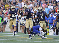 Annapolis, MD - October 7, 2017: Navy Midshipmen linebacker D.J. Palmore (45) returns a fumble during the game between Air Force and Navy at  Navy-Marine Corps Memorial Stadium in Annapolis, MD.   (Photo by Elliott Brown/Media Images International)
